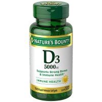 Nature's Bounty Vitamin D-5000 IU Softgels, Maximum Strength 150 ea [074312193774]