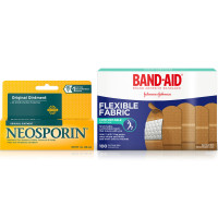 Band Aid Brand Flexible Fabric Adhesive Bandages For Minor Wound Care 100 ea & Neosporin Original Ointment for 24-Hour Infection Protection 1 oz 1 ea [191567470716]