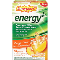 Emergen-C Energy+ Fizzy Drink Mix, Mango Peach Flavored 18 ea [076314510160]