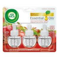 Air Wick Scented Oil Air Freshener, Apple Cinnamon Medley Scent, Triple Refills 3 ea [062338833507]