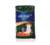 Always Fresh Ultra Thin Active Overnight Pads with Flexi-Wings, Scented 24 ea [037000110781]