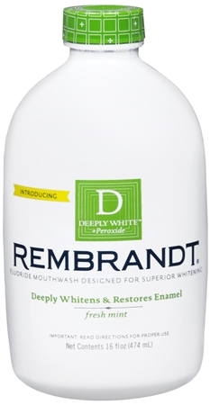 Rembrandt Whitening Mouthwash With Fluoride Plus Peroxide Fresh Mint 16 oz [049336059580]