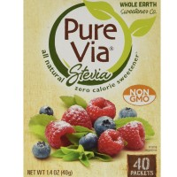 PureVia Stevia All Natural Zero Calorie Sweetener Packets 40 ea [858982001061]