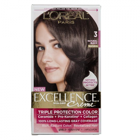 L'Oreal Excellence Creme - 3 Natural Black (Natural) 1 Each [071249210512]
