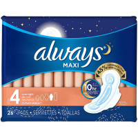 Always Maxi Overnight Pads with Wings, Unscented, Size 4 26 ea [037000890287]